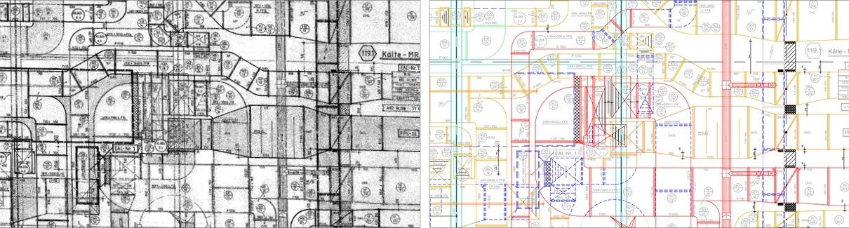 Papierplan Gebäudetechnik in CAD vektorisiert