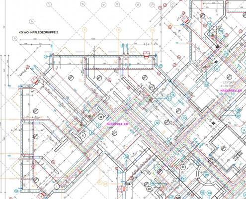 CAD-Plan: Gebäudetechnik TGA Sanitär